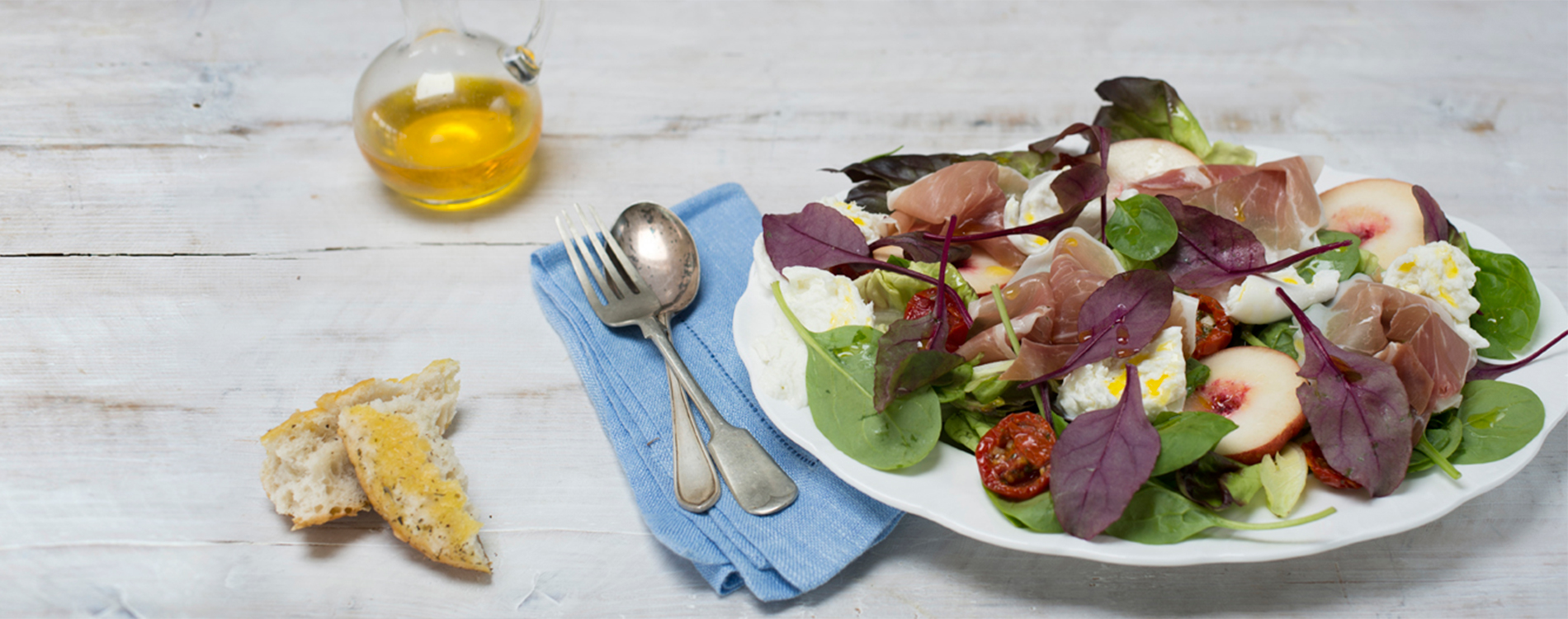 Salad with rapeseed oil salad dressing