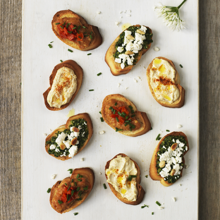 Crostini with various toppings