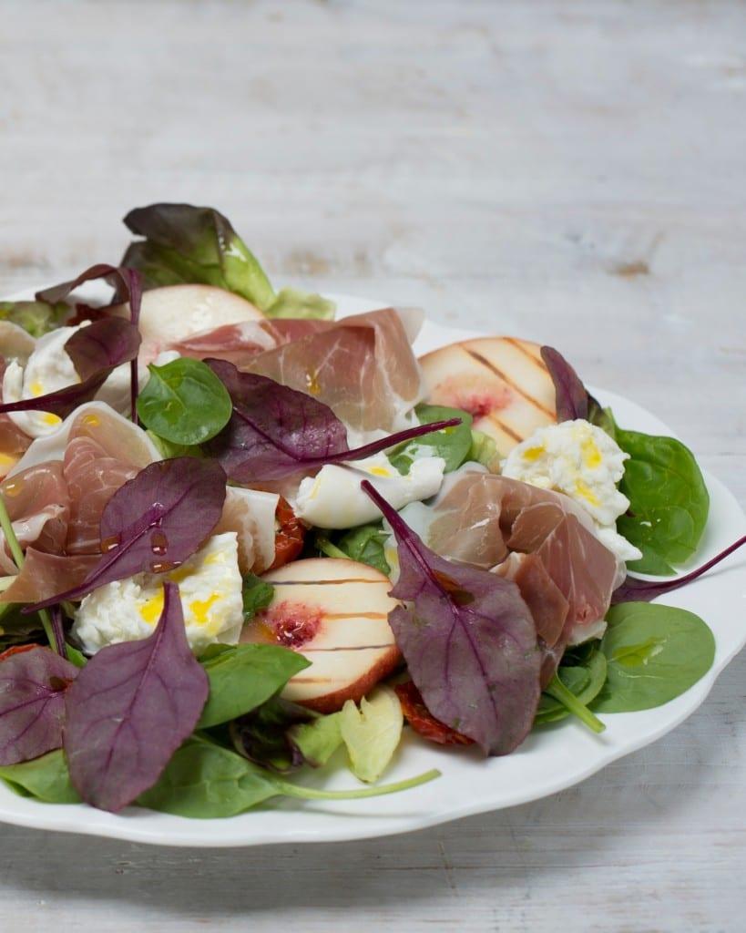 Recipe for Roast Peach, Prosciutto and Mozzarella Salad