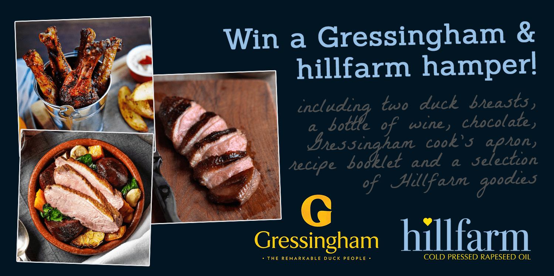 Win a gressingham duck & hillfarm oil hamper