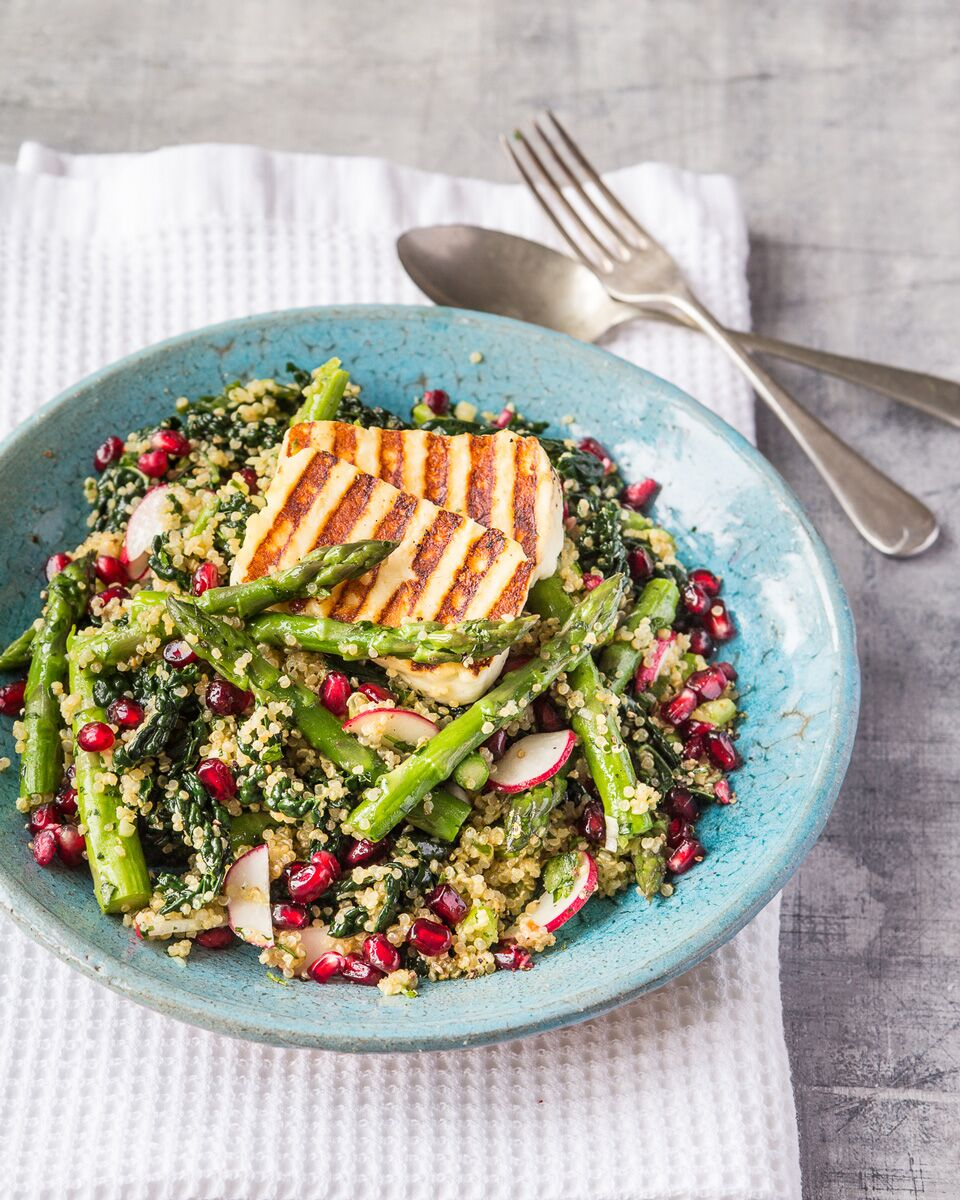 Quinoa 'tabbouleh' with British asparagus, halloumi and kale