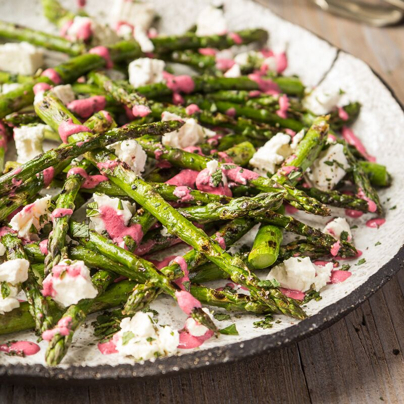 Griddled British asparagus with feta and beetroot dressing