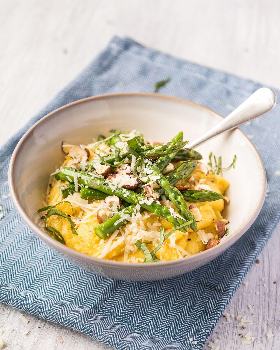 Parmesan polenta bowl with buttered British asparagus